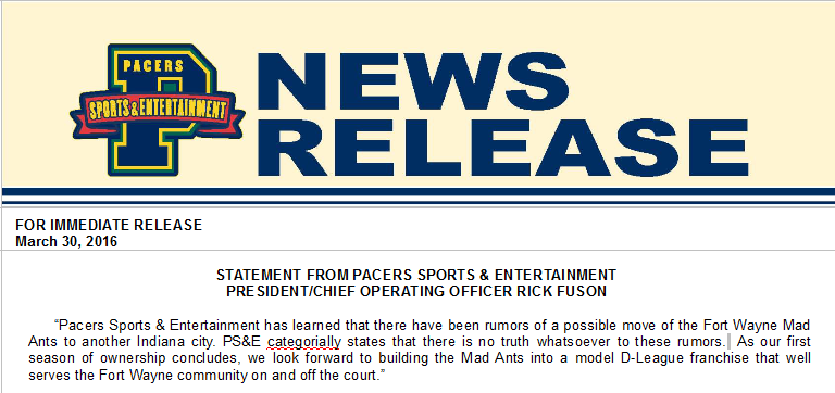 Pacers press release