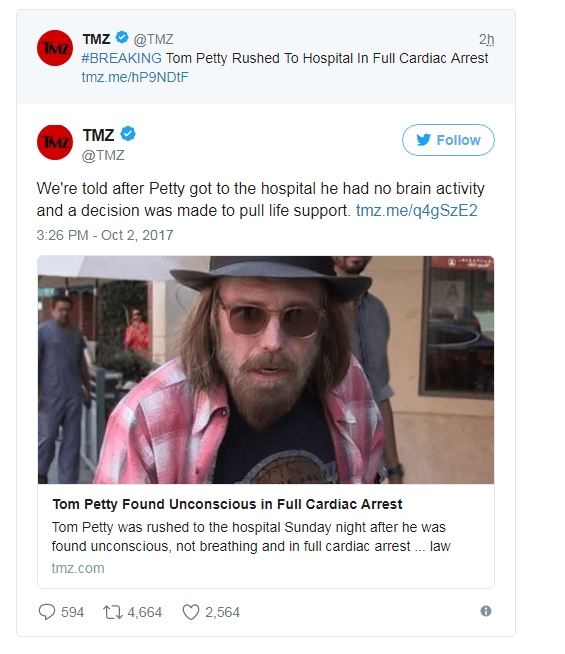 Rocker Tom Petty taken off life support after suffering full cardiac