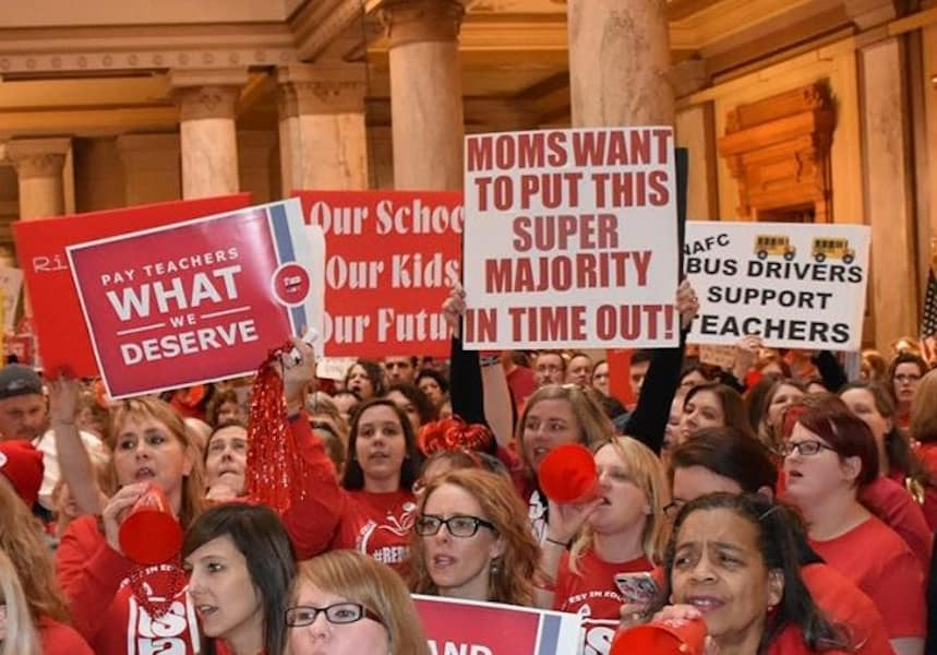 Indiana State Teachers Association RED for ED demanding Indiana General Assembly and Governor turn away from Republican Talking Points and fund schools.